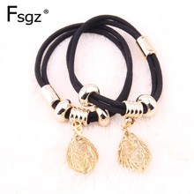 Thicken Gums For Hair  Crystal Leaf Type Metal Charm Beads Elastic Bands Double Lines Rubber Black Ties Access