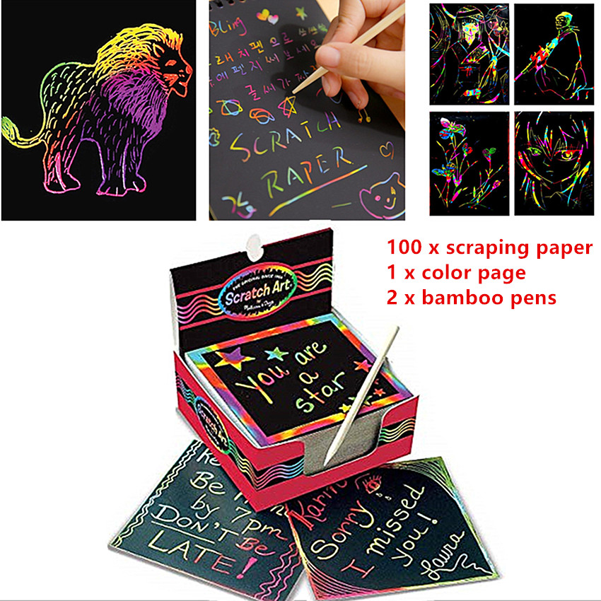 100pcs Magic Color Scratch Art Paper Coloring Cards Available On Both Sides Scraping Drawing Toys For Children 8.5cm  1