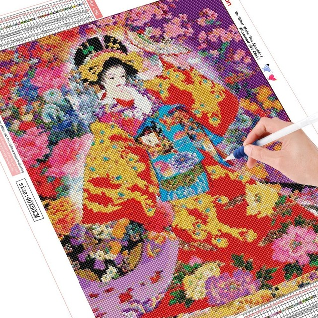 HUACAN DIY Diamond Painting Kimono Girl Full Drill Square Mosaic Diamond Embroidery Portrait Home Decor Picture