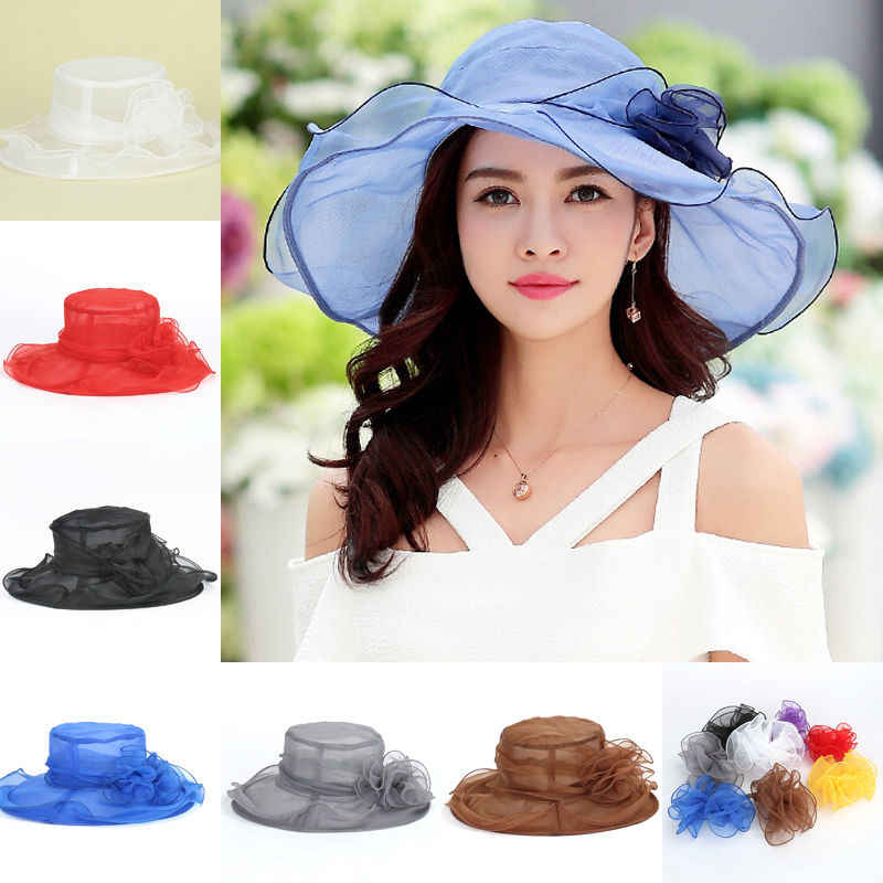 bf3163f23ac 8Colors Summer Sun Hat Women Solid Organza Large Brim Floppy Summer Beach  Sun Hat Fold Cap