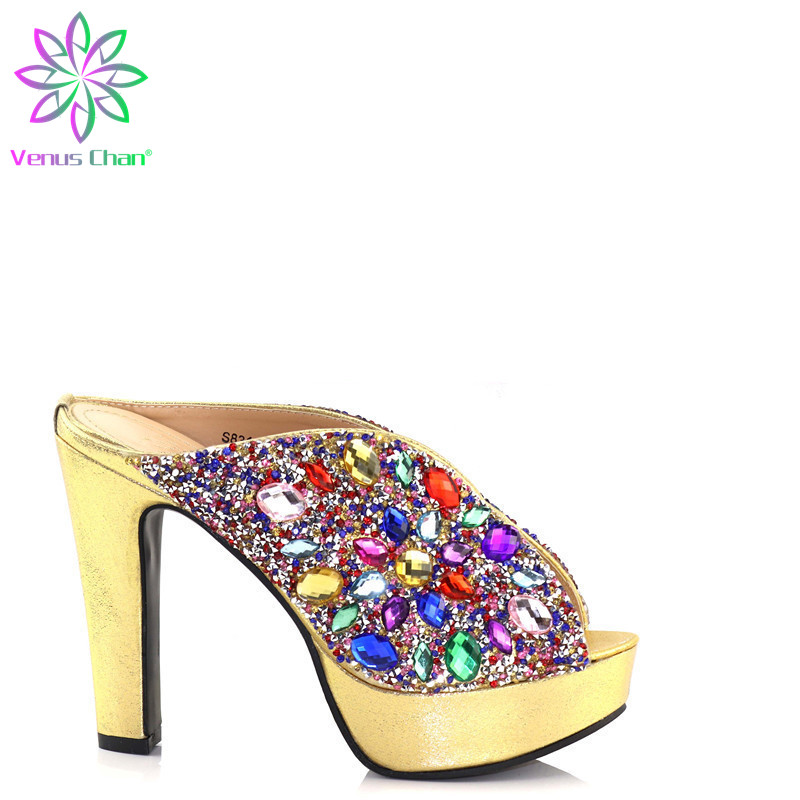 New Golden Color Smart Wedding Ladies <font><b>Shoes</b></font> without Matching Bag Set Comfortable <font><b>material</b></font> for Nigerian Party <font><b>Shoes</b></font> big size <font><b>shoe</b></font> image