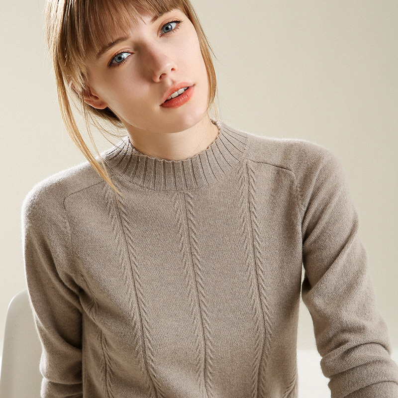 Fashion Cashmere Blended Knitted Sweater Women Tops Autumn Winter Turtleneck Pullovers Female Long Sleeve Solid Color