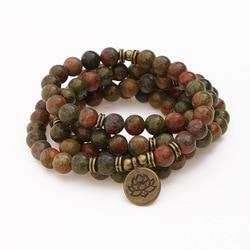Natural Flowers Green Onyx Stone Beads Strand Bracelet & Necklace Lotus OM Pendant 108 Mala Chakra Yoga Buddhist Bracelet
