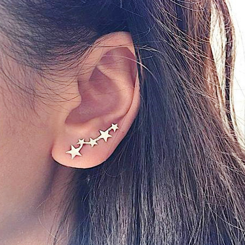 Hot Sale Exquesite Silver Tiny Star Moon Stud Earrings  Fashion Jewelry Teen Girls Gifts Valentines Gift Simple Golden