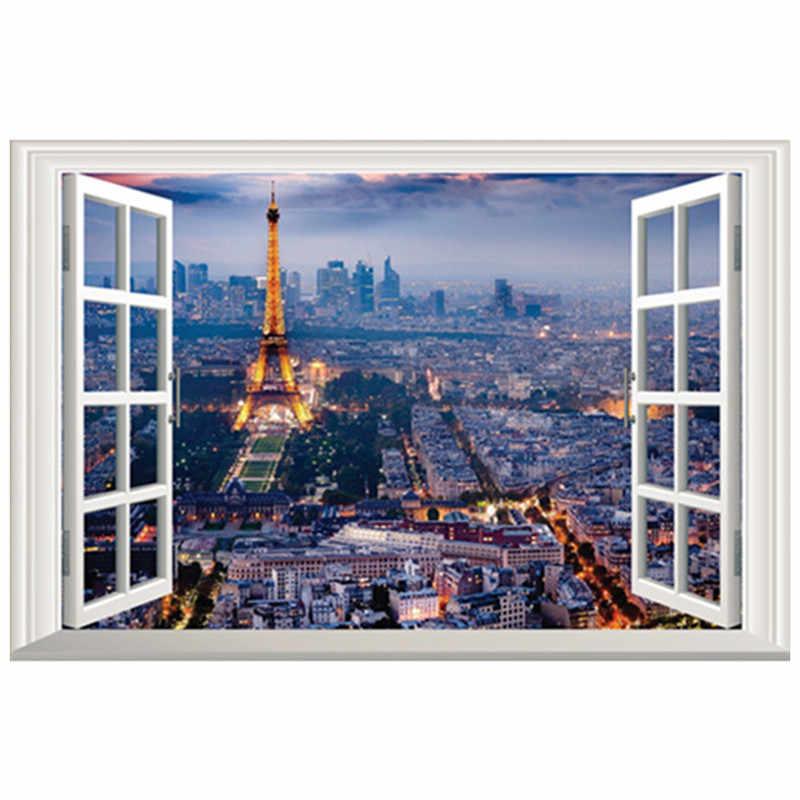 Paris Night View Mural Eiffel Tower Landscape Fake 3d Window