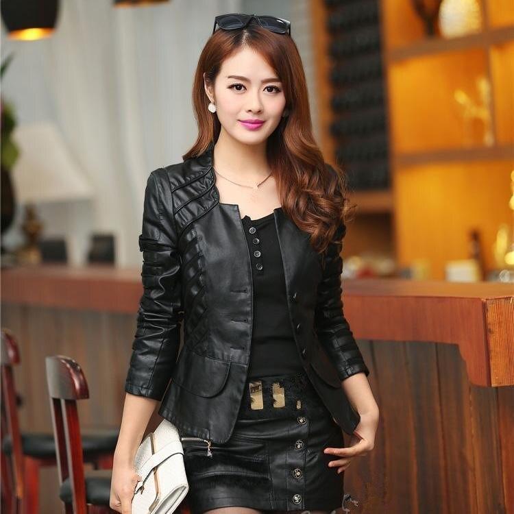 2018 Autumn Women Fashion Faux   Leather   Jacket Casual Long Sleeve Coat Plus Size Jacket Femininas New