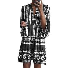 Dress Vintage Bohemian Print V-Neck 3/4 Sleeve Plus Size Women Dress 2019 Summer Beach Loose Boho Dress Modis vestidos 5XL D40 vintage slash neck 3 4 sleeve cherry print dress for women