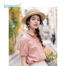 インマン夏ターンダウン襟文学刺繍レトロすべて一致カジュアルスリム半袖女性シャツ