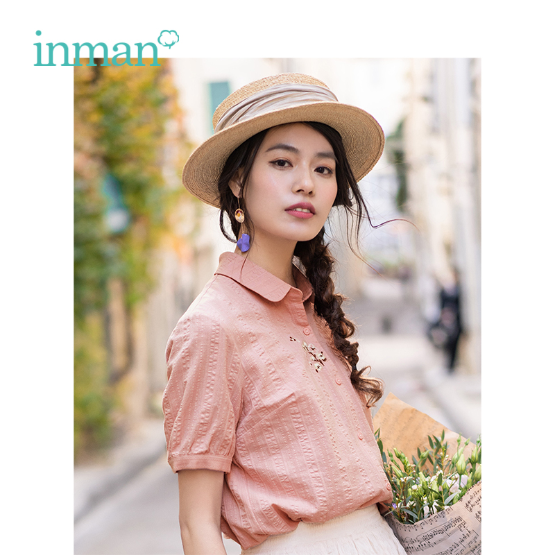 INMAN Summer Turn Down Collar Literary Embroidery Retro All Matched Casual Slim Short Sleeve Women Shirt