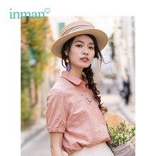 INMAN قميص نسائي صيفي بأكمام قصيرة ضيقة غير رسمية بأكمام قصيرة ومطرز بشكل أدبي