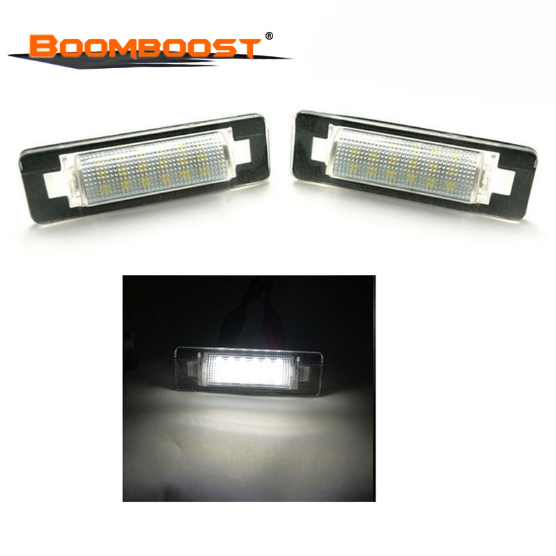 2pcs 18 <font><b>LED</b></font> For Benz W210 <font><b>W202</b></font> E300 E55 C230 C43 AMG 3528 SMD Car <font><b>LED</b></font> Number License Plate Lamps OBC image