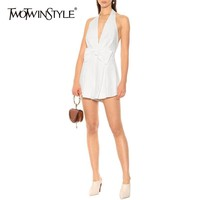 TWOTWINSTYLE Solid Sexy Jumpsuit Women Bowknot V Neck Off Shoulder Sleeveless High Wasit Playsuits Female 2019 Fashion Summer