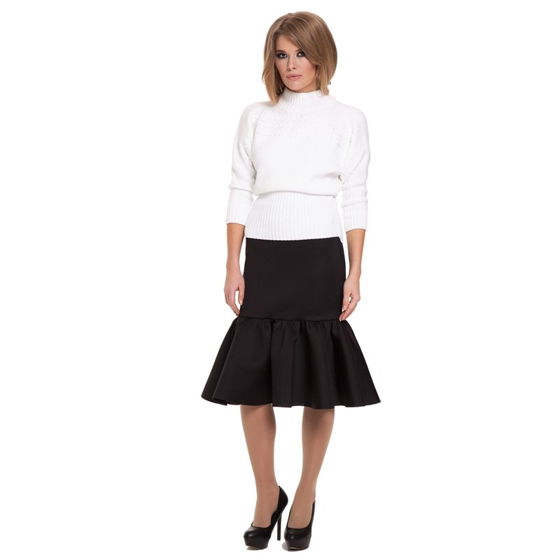 Slim skirt knot front zip up back skirt