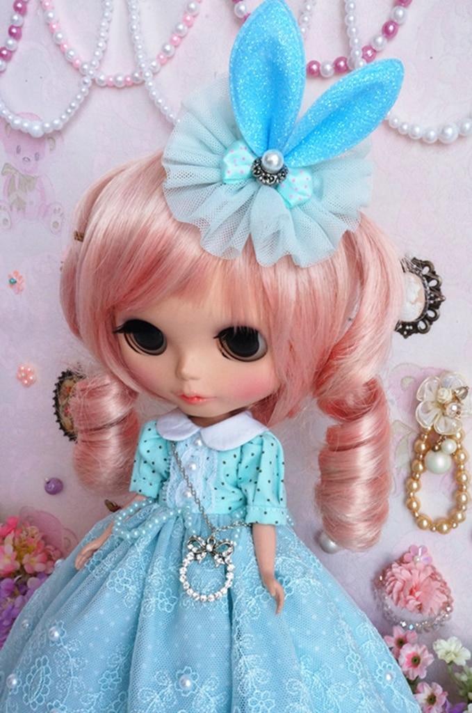 PF Hair Can Enter Blythe Pullip Doll 92# Handmade Lolita Blue Dress
