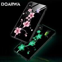Роскошные светящиеся Чехлы для iPhone 6 6s 7 8 Plus X 10 крышка телефона стекло чехол для iPhone Xr Xs Max задняя защитная крышка
