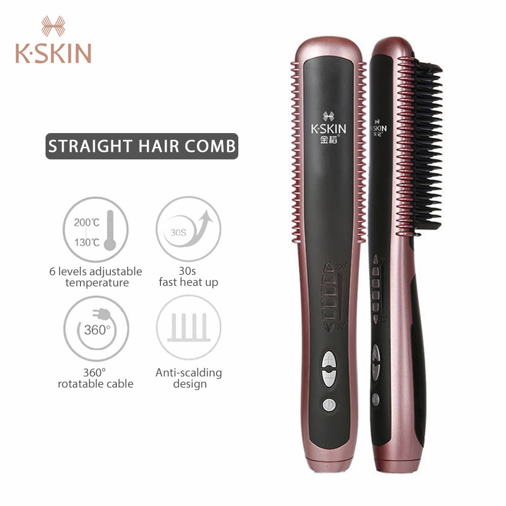K SKIN KD388A Electric Ceramic Straightener Brush PTC Heating Hair Care Styling Comb Auto Massager Straightening Irons Hair Iron