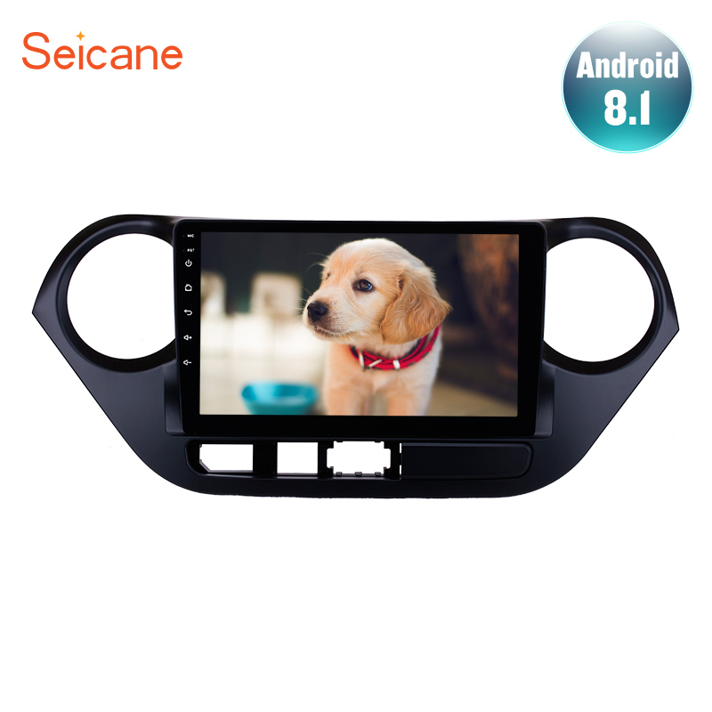 Seicane 9 inch Android 8.1 Car Radio Player <font><b>GPS</b></font> Head Unit For 2013-2016 <font><b>HYUNDAI</b></font> <font><b>I10</b></font> <font><b>Grand</b></font> <font><b>i10</b></font> Right Hand Driv Support DVR TPMS image
