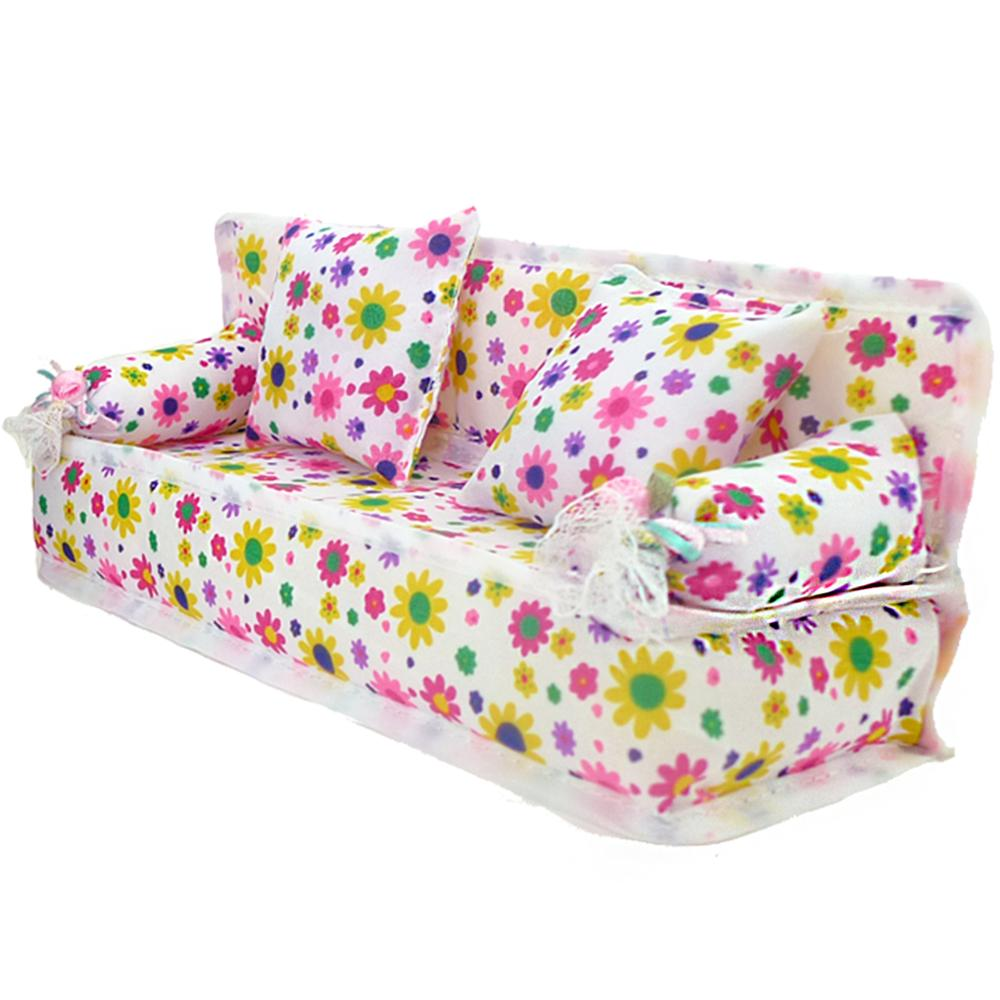 Flower Cloth Sofa Couch + 2 Cushions Cute Dollhouse Furniture Chair Living Room Doll Accessories For Barbie Doll House Girl Toy(China)