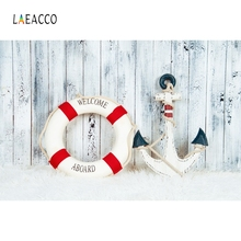 Laeacco Anchor Life Buoy Wooden Baby Birthday Party Photography Backgrounds Customized Photographic Backdrop For Photo Studio