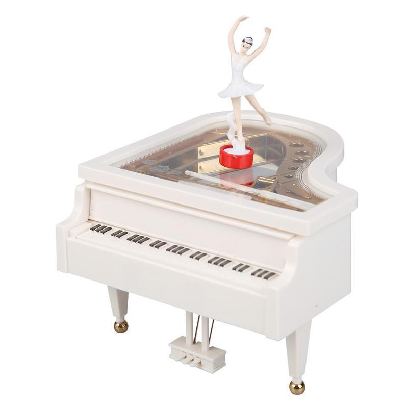 Romantic Classic Piano Model Dancing Ballerina Music Box Hand Crank Musical Boxes Birthday Wedding Gift Home Decoration
