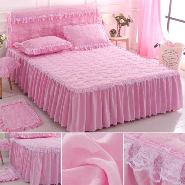 Funda Nordica One Piece.Us 12 2 28 Off 150 200cm Bedspreads Cotton Lace Bedsheet Solid Color Single Piece Queen Size Bed Skirt Funda Nordica Cama 150 In Bed Skirt From Home
