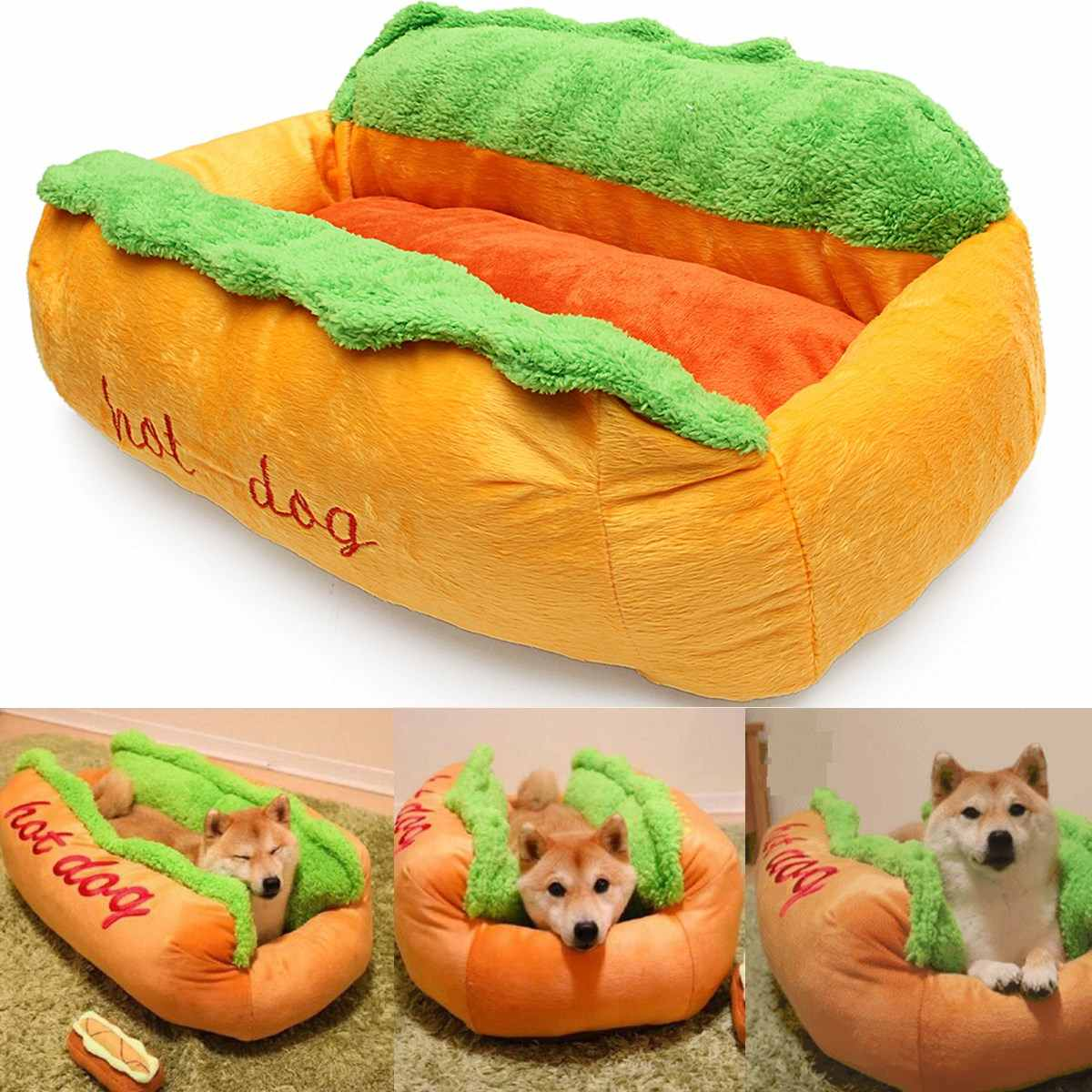 Washable Cotton Hot Dog Pet Dog Bed Warming Dog House Soft Material Nest Dog Basket Fall and Winter Warm Kennel For Pet SuppliesWashable Cotton Hot Dog Pet Dog Bed Warming Dog House Soft Material Nest Dog Basket Fall and Winter Warm Kennel For Pet Supplies
