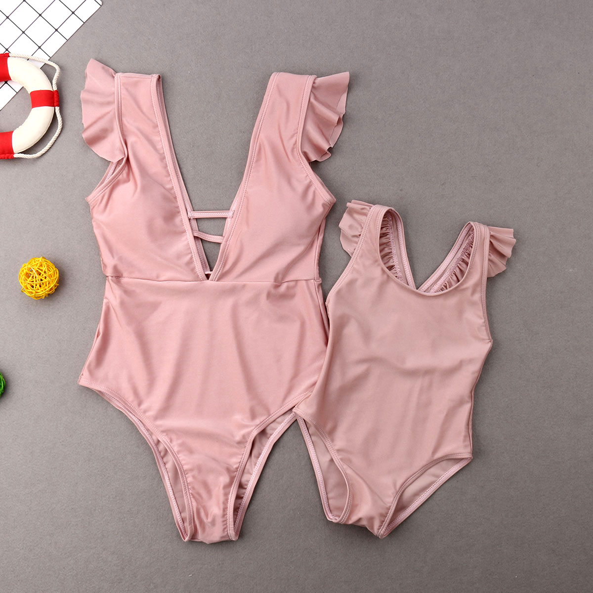 New Family Matching Swimwear Mother Daughter Women Kids Holiday Beach Solid Bodysuit