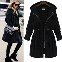 Overcoat Women Autumn Trench Coat Casual Outwear Female Coats With Hood Slim Lace Up Overcoats For Lady Autumn Trench Coat Femme