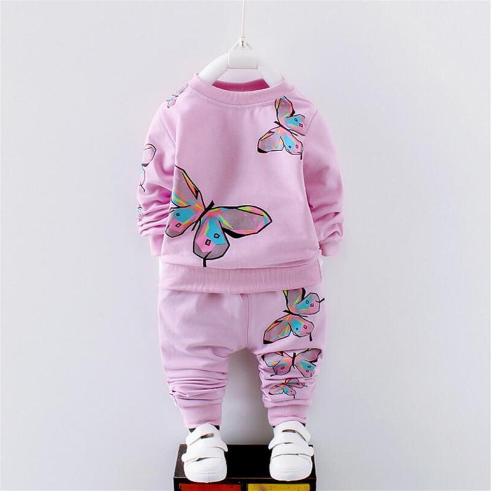 все цены на Girls Clothes 1 2 3 4 5 Year Toddlers Children Clothing Set Spring Autumn Kids Sports Suits Cotton Butterfly Girls Tracksuits онлайн