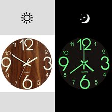 Hot-Luminous Wall Clock,12 Inch Wooden Silent Non-Ticking Kitchen Wall Clocks With Night Lights For Indoor/Outdoor Living Room(China)