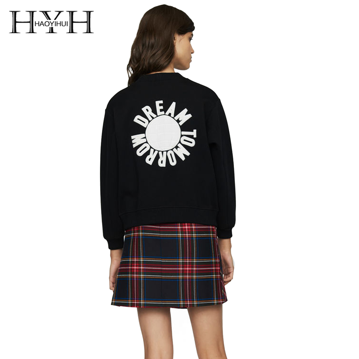 HYH HAOYIHUI Simple leisure basic style pure color button back embroidered round collar guard garment
