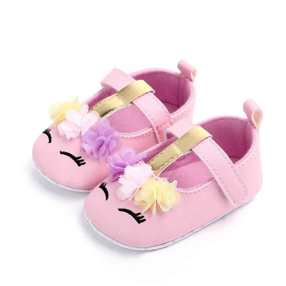 2019 Brand New Toddler Baby Girls Flower Unicorn Shoes PU Leather Shoes Soft Sole Crib Shoes Spring Autumn First walkers 0-18M 4