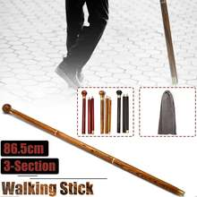 86cm Wood Round Head 3-Sections Walking Stick Foldable Travel Cane Camping Trekking Gentleman Walk Stick with Cloth Bag