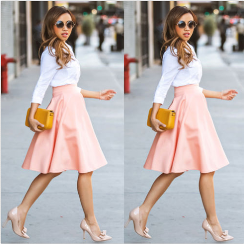 Meihuida 2019 Office Lady Skirts For Women Vintage High Waist Stretch Skater Flared Pleated Swing Skirt Summer Pink Skirt