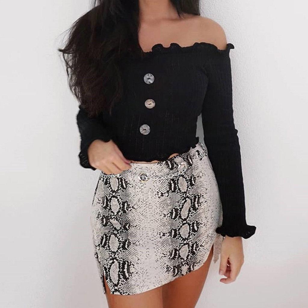 Sexy Off Shoulder Top Tees Streetwear Ruffle Long Sleeve Women Button Slim Top Female Fashion Slim Party Crop Top 2018