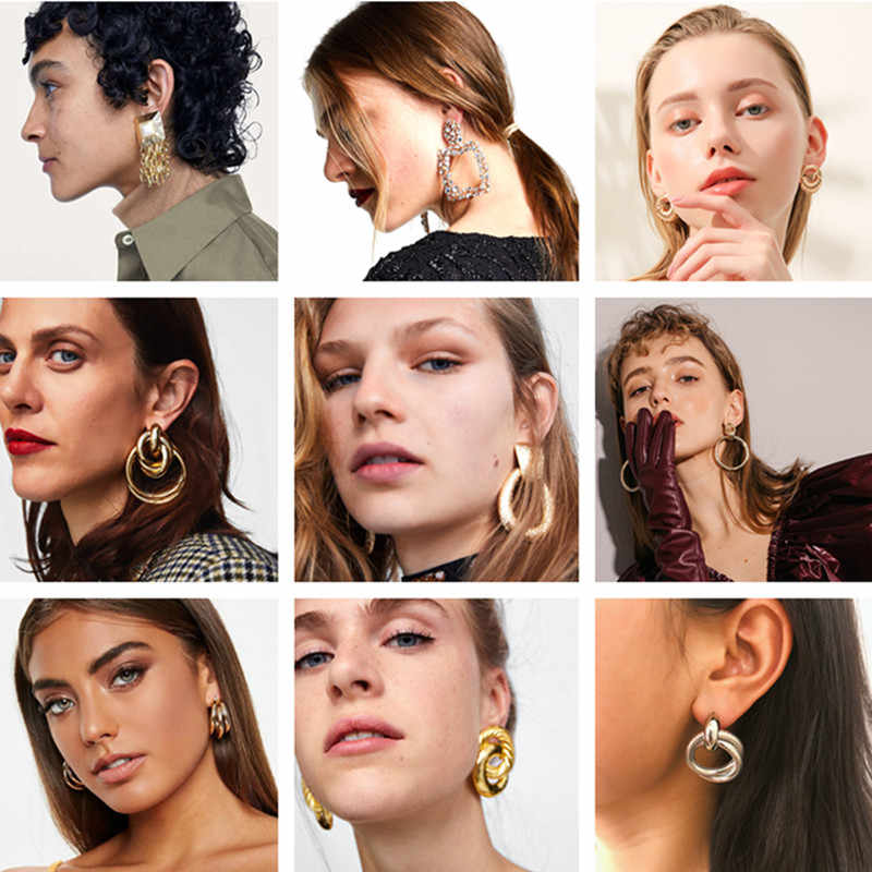 Vintage Metal Tassel Chain ZA Earrings for Women Fashion Jewelry Gift Punk Crystal Round Shiny Drop Earrings Party Accessories