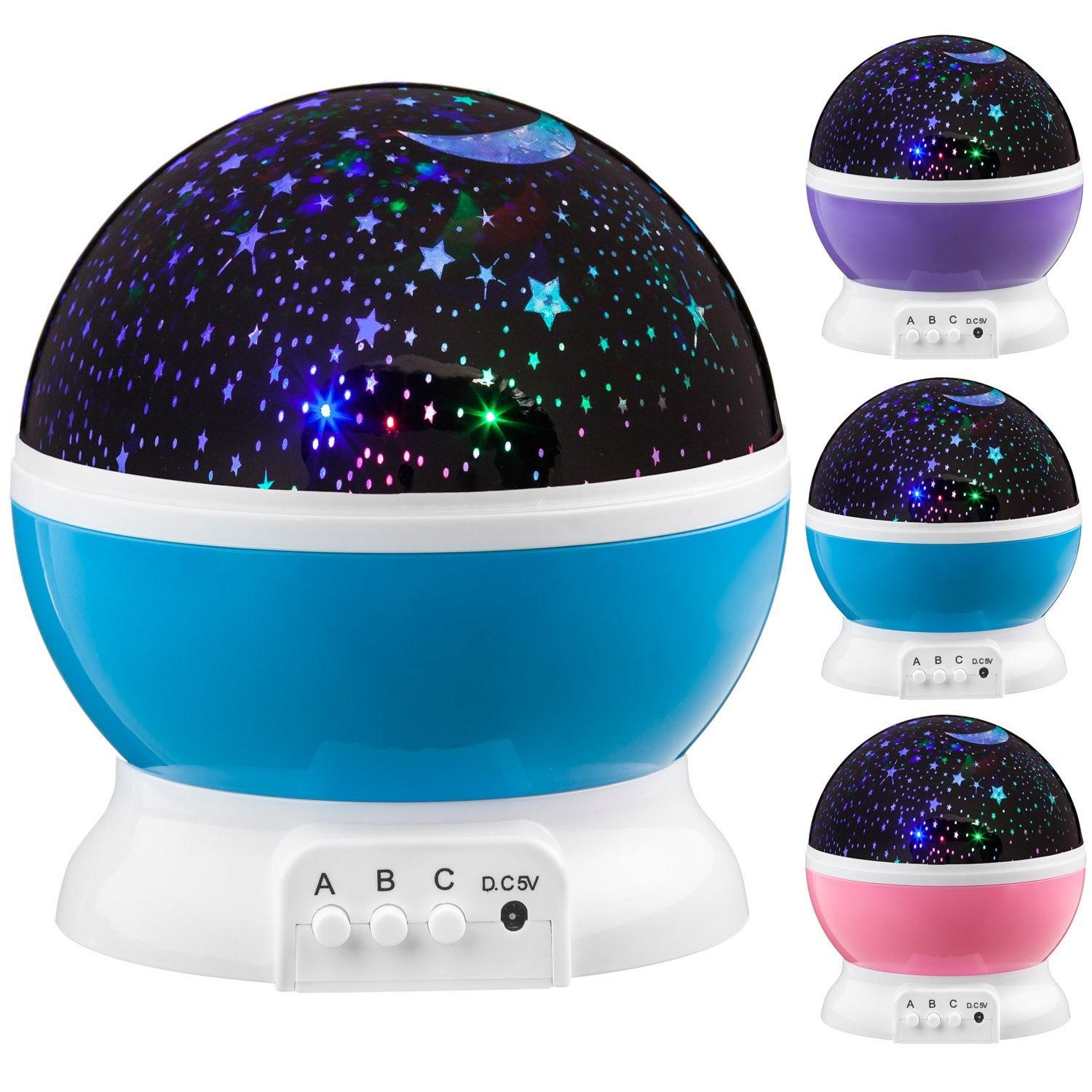 Stars Starry Sky LED Night Lighting Projector Moon Battery USB Bedroom Party Projection For Children's Night Light