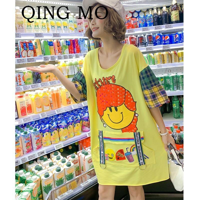 QING MO Cartoon Sequin Dress Yellow Plus Size Dress Summer Cotton O Neck Short Sleeve Above Knee Mini Dress Casual ZQY059