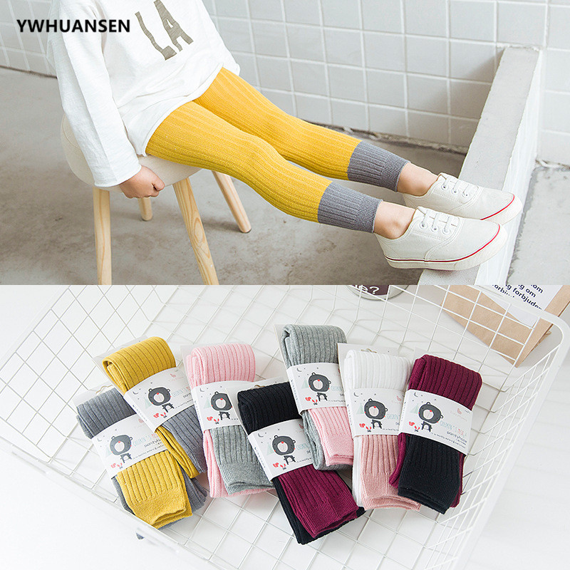 YWHUANSEN Double Needle Patchwork Cotton Leggings For Girls Spring Autumn Leggings For Children Fashionable Legging Infantil