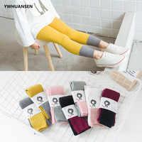 YWHUANSEN Double Needle Patchwork Cotton Leggings for Girls Spring Autumn Leggings for Children Fashionable Legging Infantil