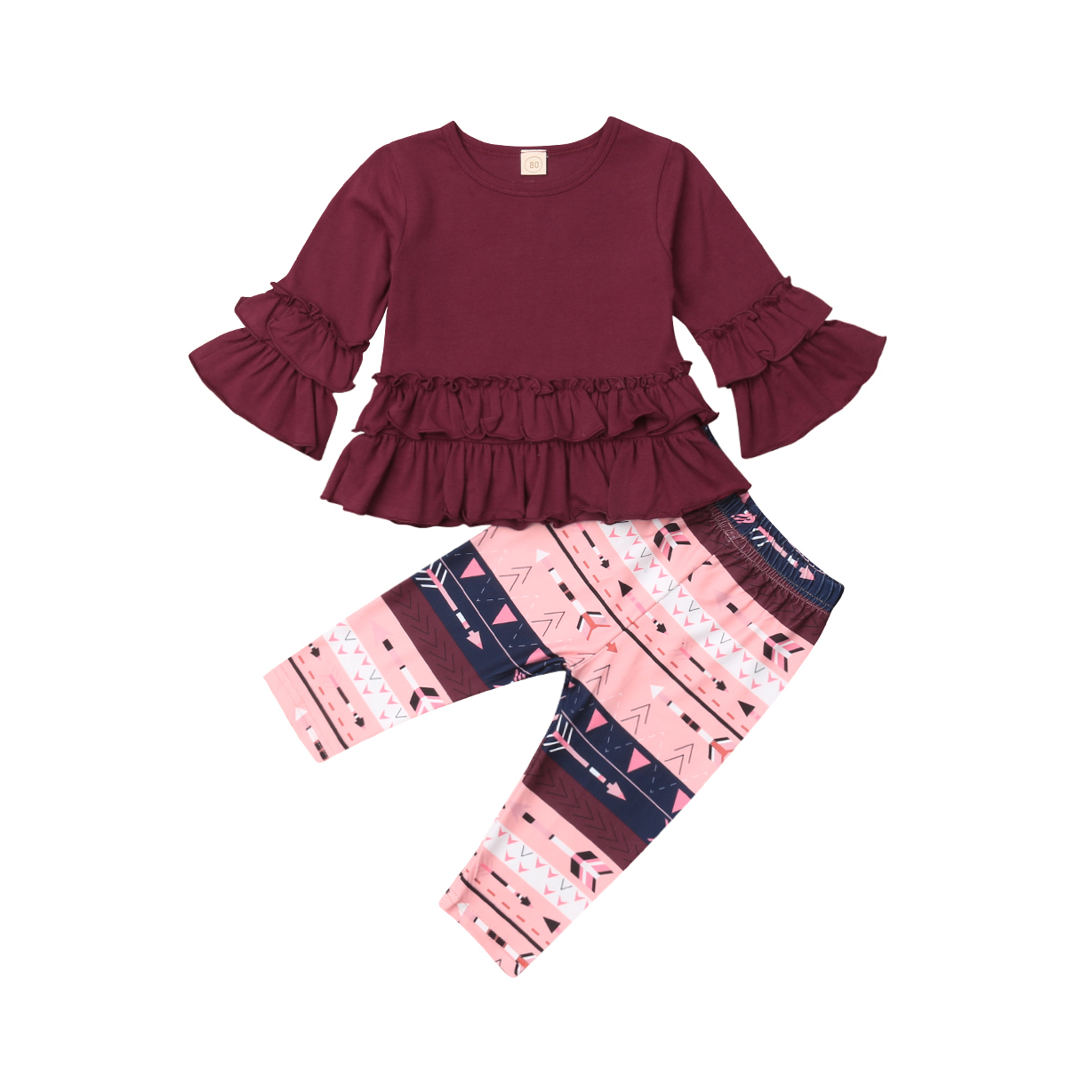 2pcs Floral Kids Baby Girls Outfits Clothes Sets Long Sleeve Tops Blouse Ruffles Pants Set Cute Clothing Girl 6M-4T