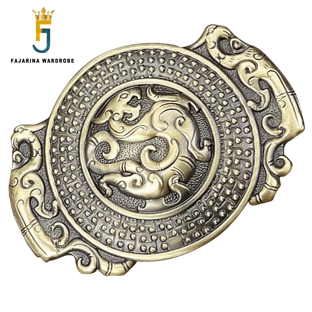 FAJARINA Unique Design Solid Brass Buckle Only For 3.6-3.9cm Width Cowboy Chinese Dragon Belt Buckles Men Freeshipping BCK039