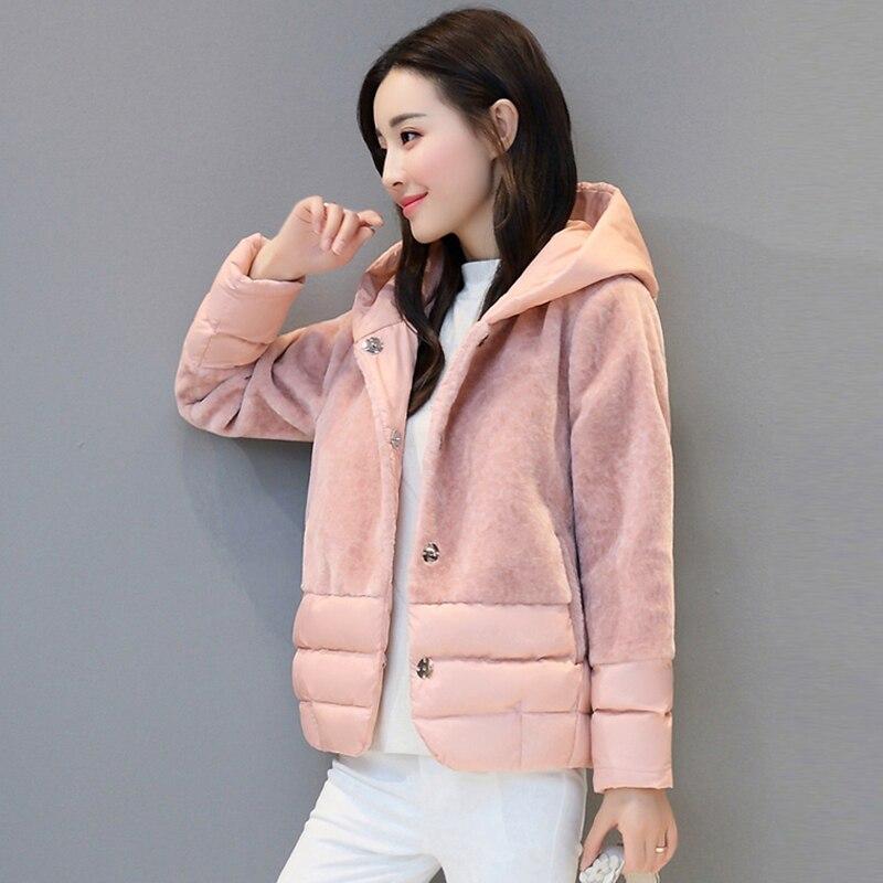 Capuche Automne Occasionnel Épais Vestes Bas Tang Chaud À Femelle Outwear Manteaux Hiver Court Femmes Jiao Ouatée pink Fp1484 Coton Slim q6tYq