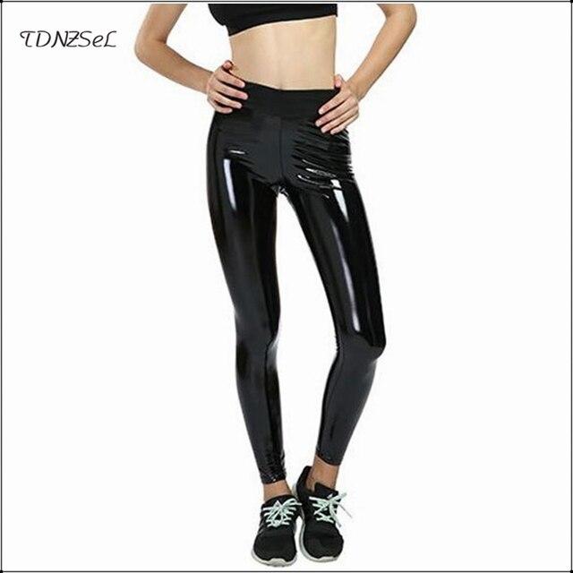 374e1c05240fc Elastic High Waist PU Leather Stretch Leggings For Women Sexy PVC Latex  Skinny Pencil Pants Fashion Slim Bodycon Push Up Trouser