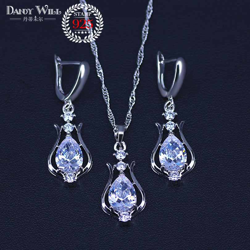 Silver 925 Jewelry Set Beaded Necklace Drop Earring Ring 4 Pcs Bridal Costume Jewelry Sets Decorations