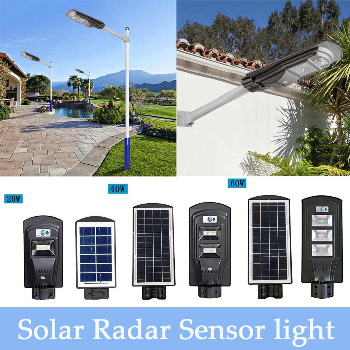 40/80/120 LED Solar Powered PIR Motion Sensor Wall Light Waterproof Outdoor Garden Flood Light Road Street Pathway Lamp