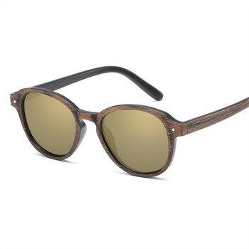 5107a8ce21 Oulylan hombres gafas de sol Vintage lentes de espejo conducción gafas de sol  hombre grano de madera Marco de gafas UV400