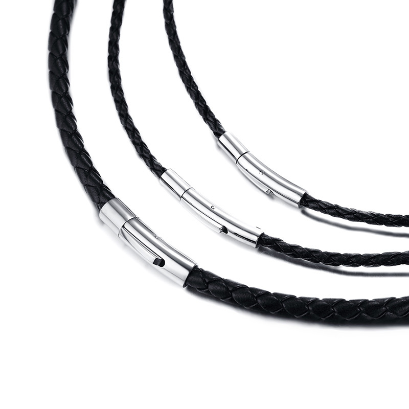 Cord Choker Necklace Jewelry-Making Stainless-Steel Black Braided Men 20-Rope Clasp Men's