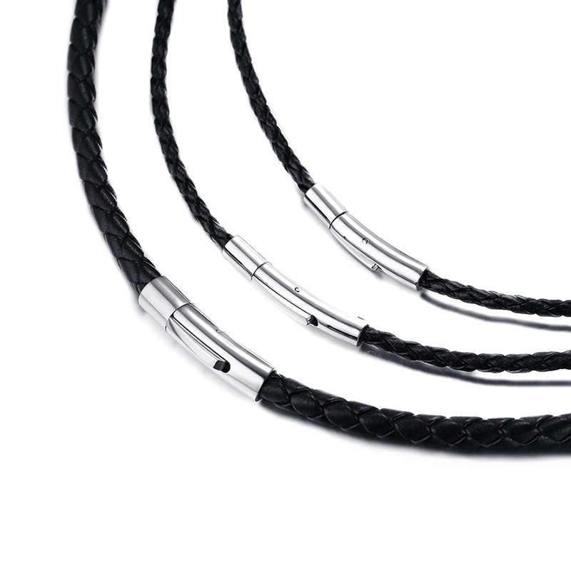 """Męskie skórzane choker naszyjnik 20 """"czarny pleciony liny tworzenia biżuterii ze stali nierdzewnej zapięcie"""