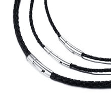 "Men's Leather Cord Choker Necklace 20"" Black Braided Rope Jewelry Making Stainless Steel Clasp(China)"